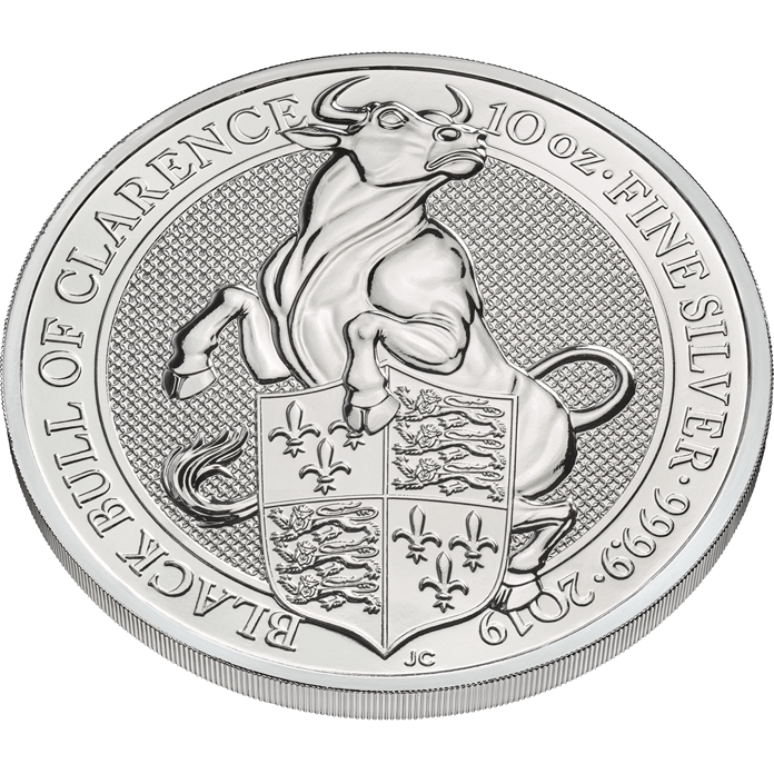 The Queen's Beasts 2019 Black Bull 10 oz Silver Coin