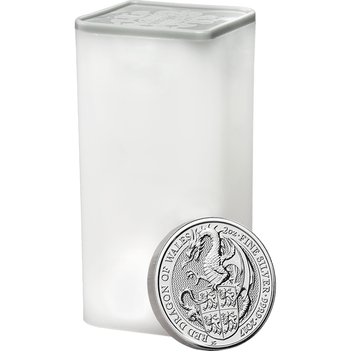 The Queen's Beasts 2017 The Dragon 2 oz Silver Ten Coin Tube