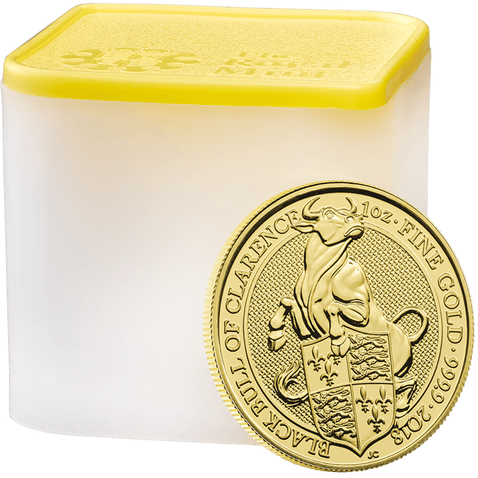 The Queen's Beasts 2018 Black Bull 1 oz Gold Ten Coin Tube
