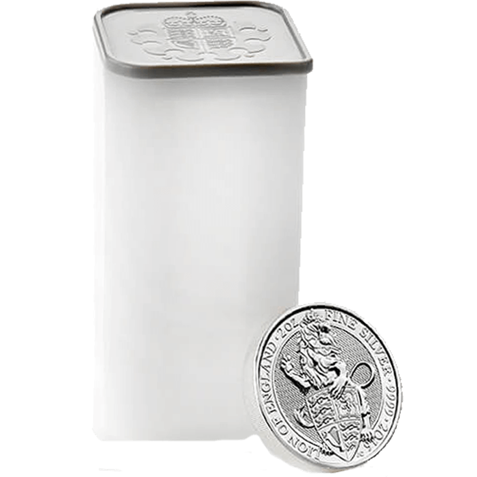 The Queen's Beasts 2016 The Lion 2 oz Silver Ten Coin Tube
