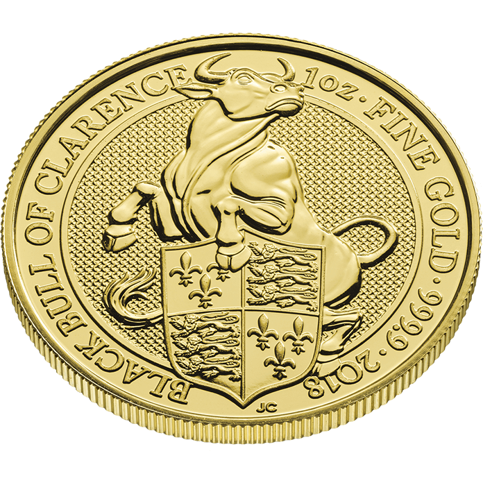 The Queen's Beasts 2018 Black Bull 1 oz Gold Coin
