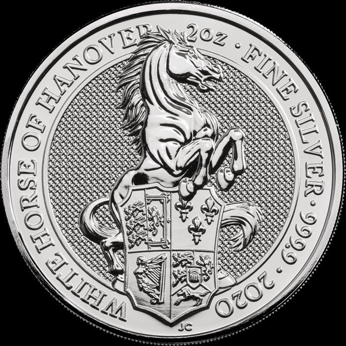 The Queen's Beasts 2020 White Horse of Hanover Ten Silver 2 oz Bullion Coin Tube