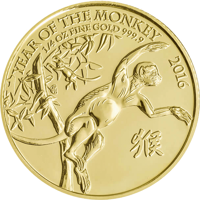 Lunar 2016 Year of the Monkey 1/4 oz Gold Coin