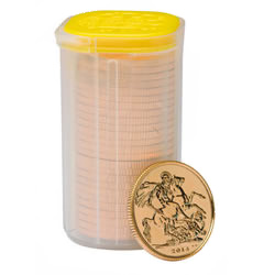The Sovereign 2014 Gold Bullion 25 Coin Tube