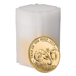 Lunar Year of the Sheep 2015 UK 1 oz Gold Bullion 10 Coin Tube