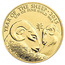 Lunar Year of the Sheep 2015 UK 1/10 oz Gold Bullion Coin