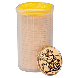 The Sovereign 2015 Gold Bullion 25 Coin Tube