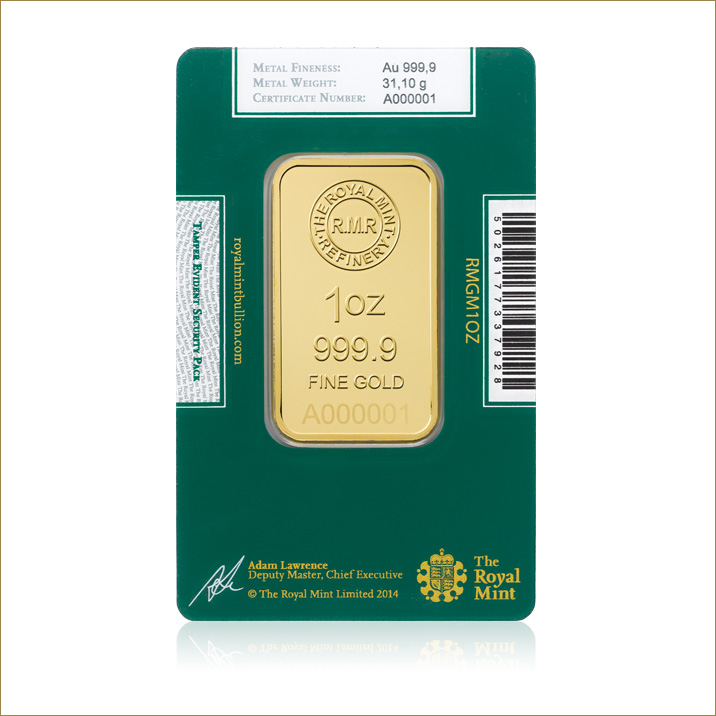 1oz Gold Bullion Bars Royal Mint Bullion