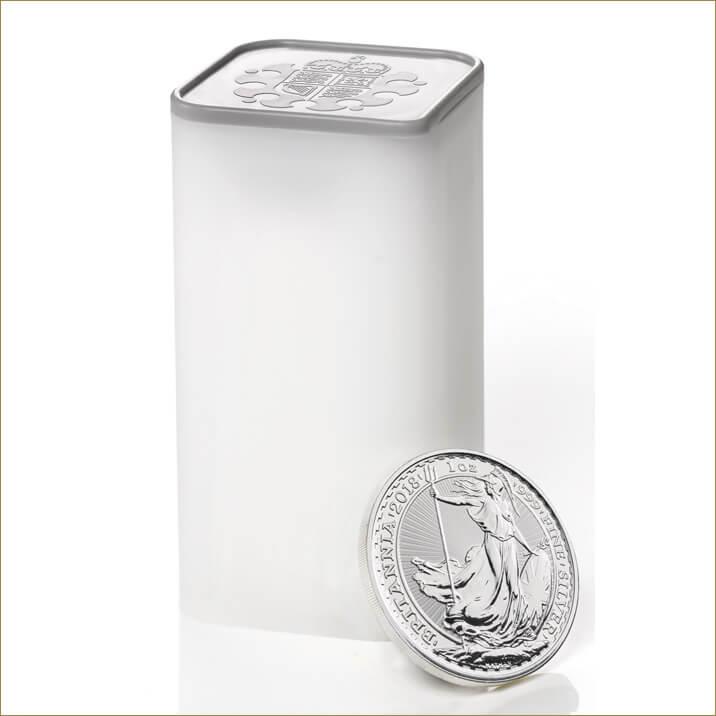 Britannia 2018 1 oz Silver Twenty Five Coin Tube