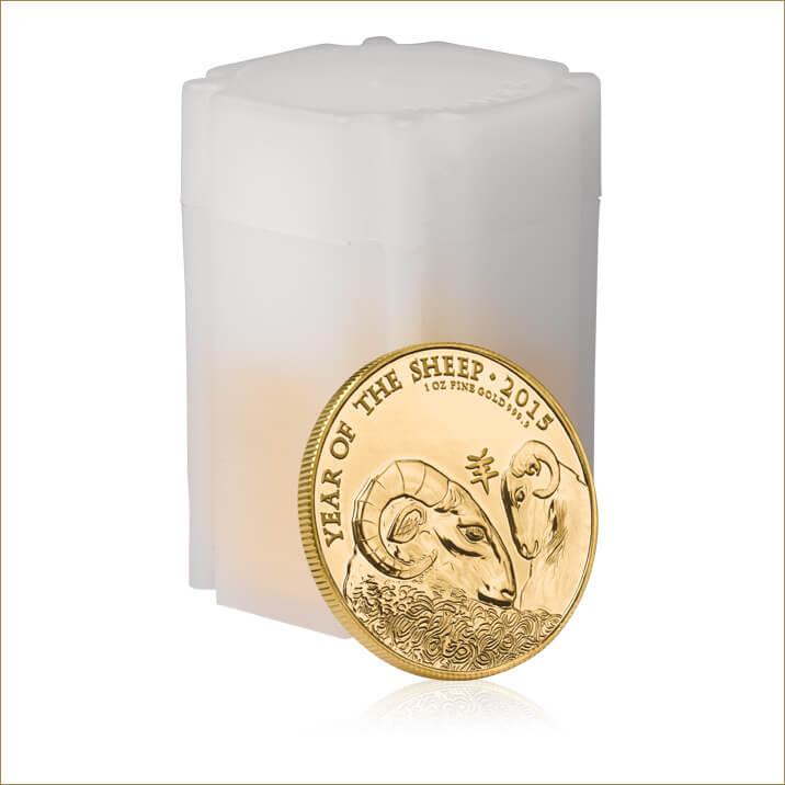 Lunar 2015 Year of the Sheep 1 oz Gold Ten Coin Tube