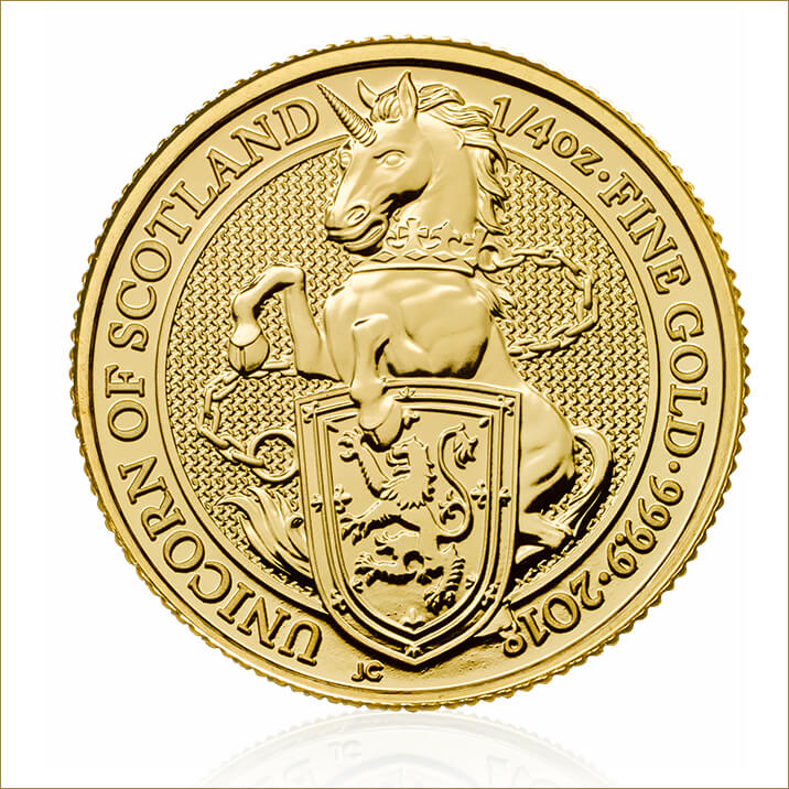 The Queen's Beasts 2018 – The Unicorn – 1/4 oz Gold Bullion Coin