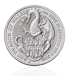 The Queen's Beasts 2018 Red Dragon 1 oz Platinum Coin
