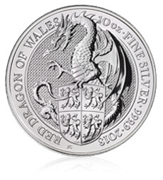 The Queen's Beasts 2018 – Red Dragon – 10 oz Silver Bullion Coin
